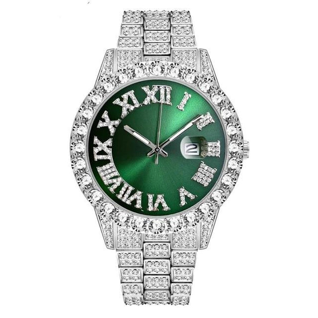 18k White Gold Plated 40mm Green Roman Dial w/Date - eGen Club