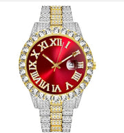 18k Yellow/White Gold Plated 40mm Red Roman Dial w/Date - eGen Club