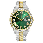 18k Yellow/White Gold Plated 40mm Green Roman Dial w/Date - eGen Club