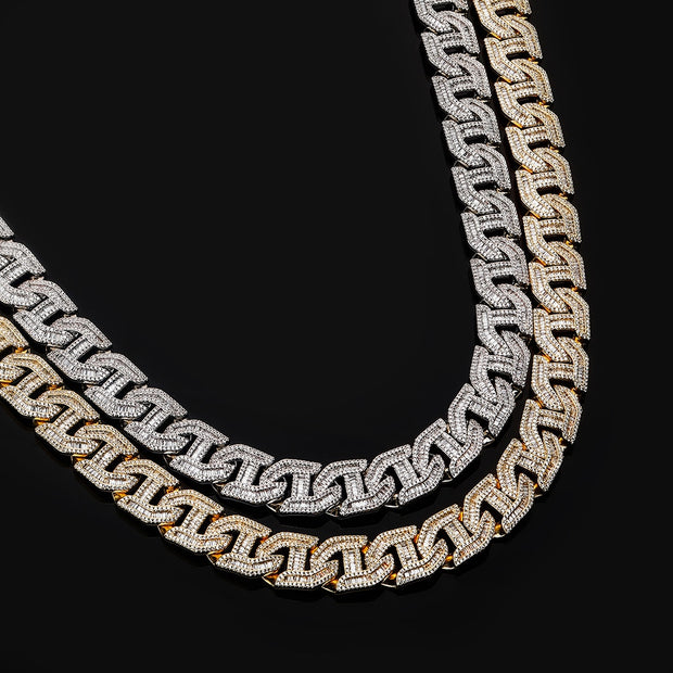 16mm 18k White Gold Plated Baguette Curb Link Chain - eGen Club