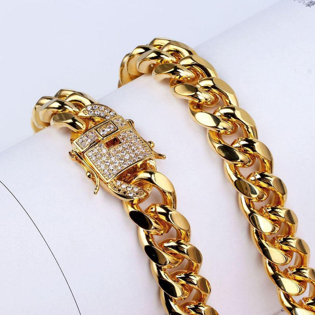 12mm 18k Gold Plated Miami Cuban Link Chain - eGen Club