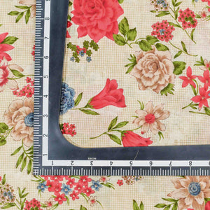 Red Floral Pattern Cotton Fabric