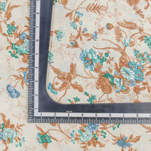 Load image into Gallery viewer, Teal Green Floral Pattern Cotton Fabric