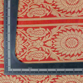 Red Floral Pattern Woven Zari Banarasi Fabric