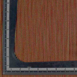 Red Striped Pattern Banarasi Fabric