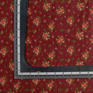 Maroon Floral Pattern Screen Printed Cotton Satin Fabric