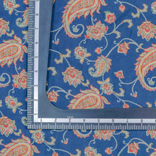 Load image into Gallery viewer, Blue Paisely Pattern Digital Print Muslin Fabric