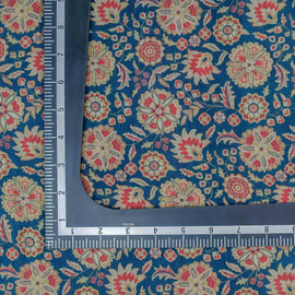 Blue Turkish Rug Pattern Digital Print Muslin Fabric