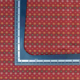 Red Circular Geometric Pattern Banarasi Fabric