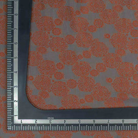 Grey Floral Pattern Banarasi Fabric