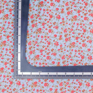 Blue Floral Pattern Screen Printed Cotton Fabric