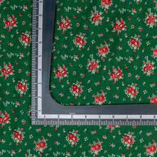 Load image into Gallery viewer, Green Floral Pattern Screen Printed Cotton Fabric