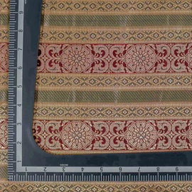 Beige Traditional Pattern Woven Zari Banarasi Fabric