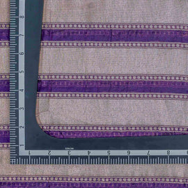Purple Geometric Pattern Woven Zari Banarasi Fabric