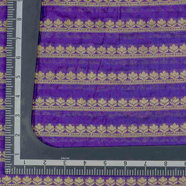 Purple Leaf Pattern Woven Zari Banarasi Fabric