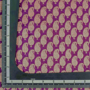 Purple Paisely Pattern Woven Zari Banarasi Fabric