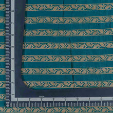 Load image into Gallery viewer, Blue Leaf Pattern Woven Zari Banarasi Fabric