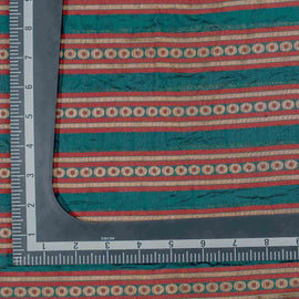 Green Geometric Pattern Woven Zari Banarasi Fabric