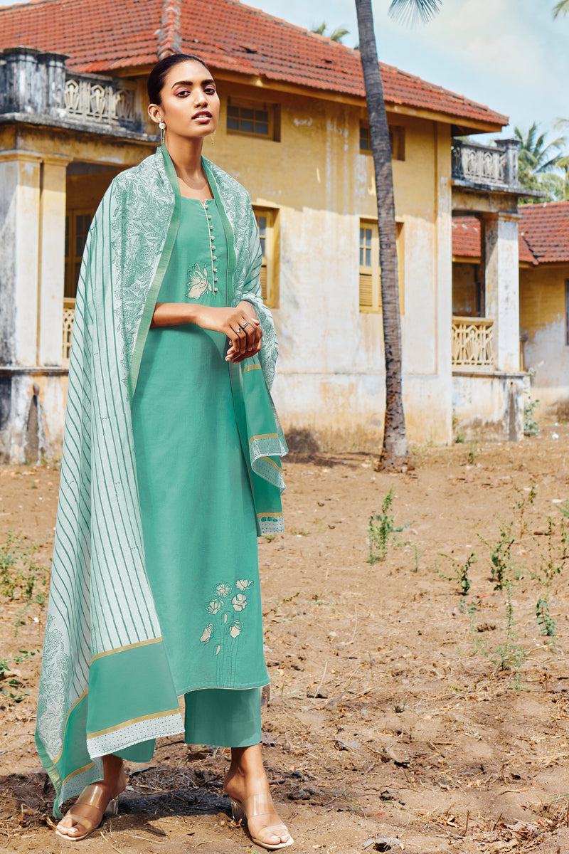 Teal Green Cotton Kurta with Silk Jacquard Dupatta