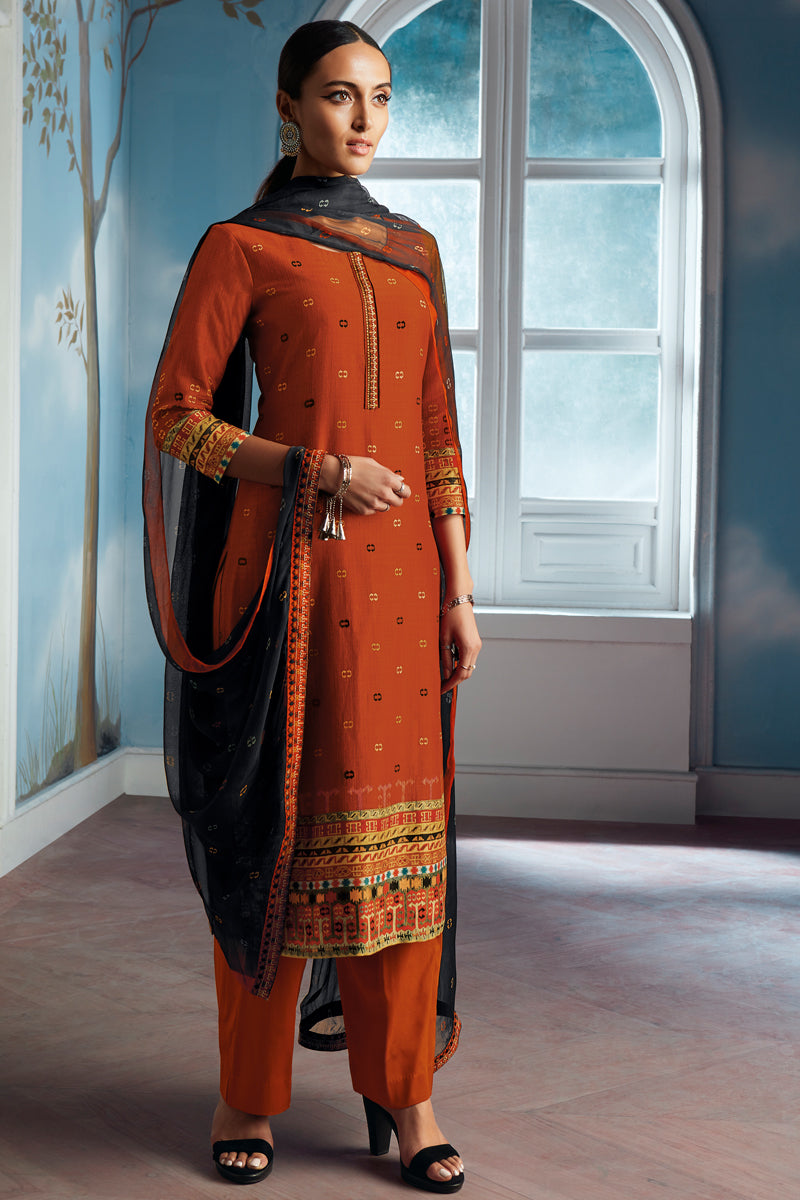 Orange Bemberg Silk Kurta with Chiffon Dupatta