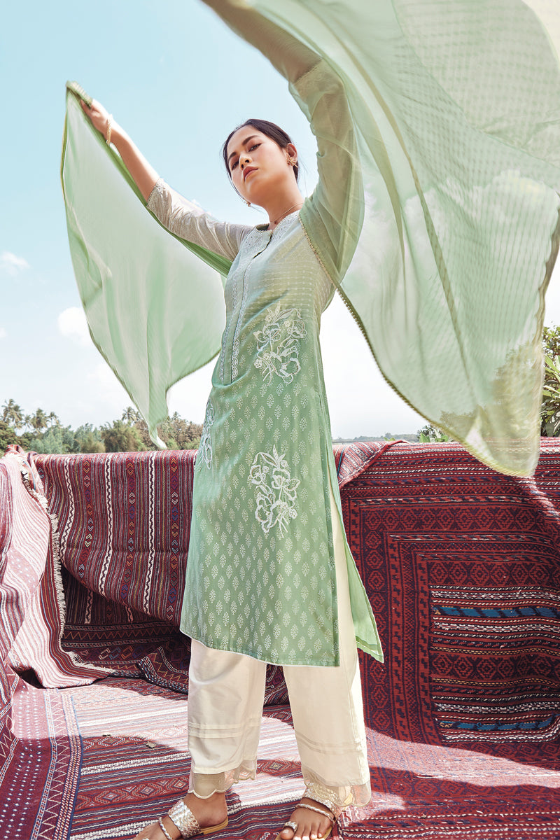 Green Summer Silk Kurta with Chiffon Dupatta