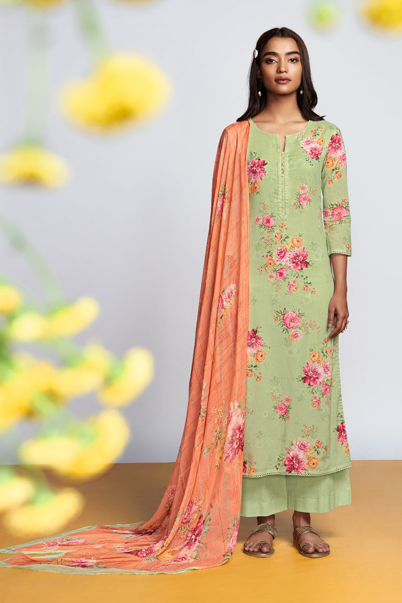 Green Cotton Lawn Kurta with Chiffon Dupatta