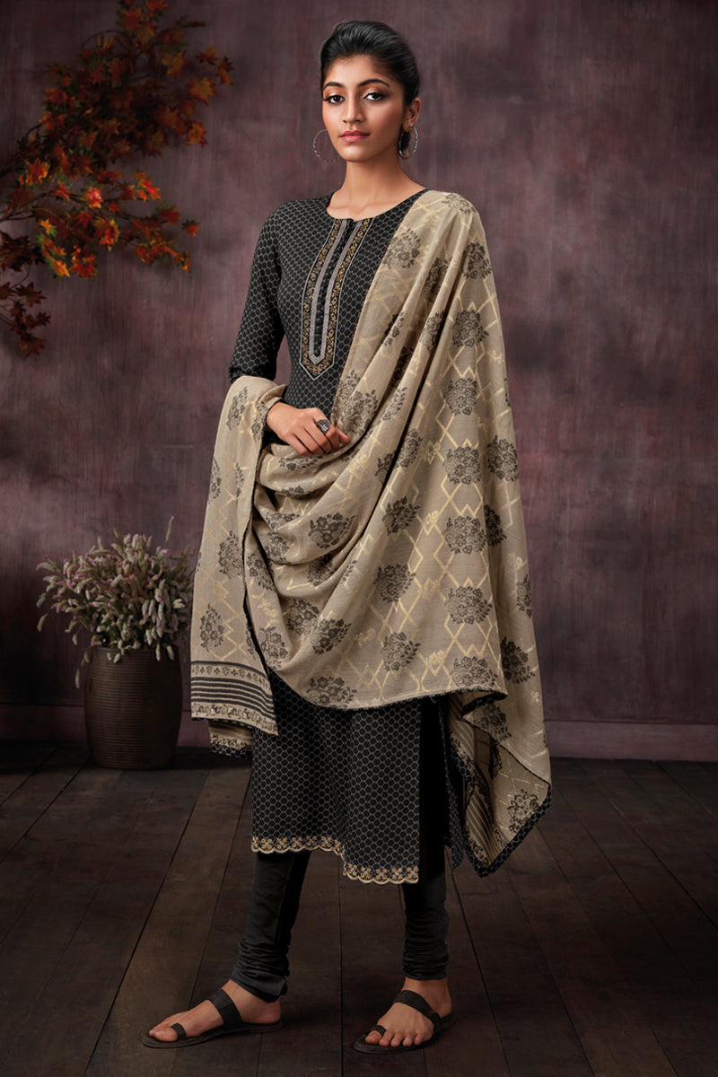 Black Cotton Printed Kurta with Jacquard Dupatta
