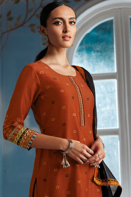 Orange Bemberg Silk Kurta