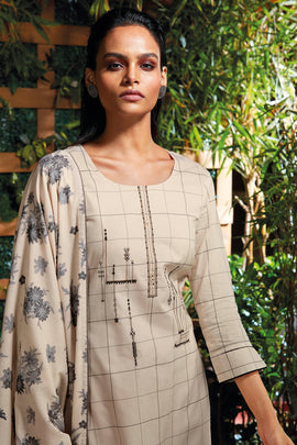 Cream Cotton Kurta with Jacquard Dupatta