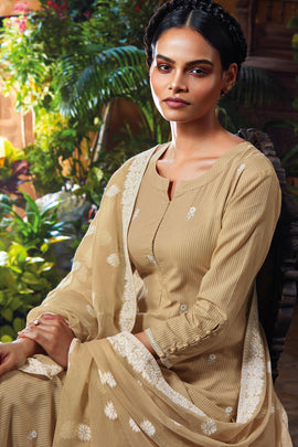 Cotton Dobby Kurta with Cotton Jacquard Dupatta