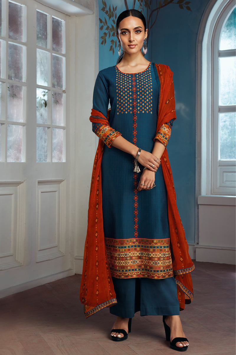 Blue Bemberg Silk Kurta with Chiffon Dupatta
