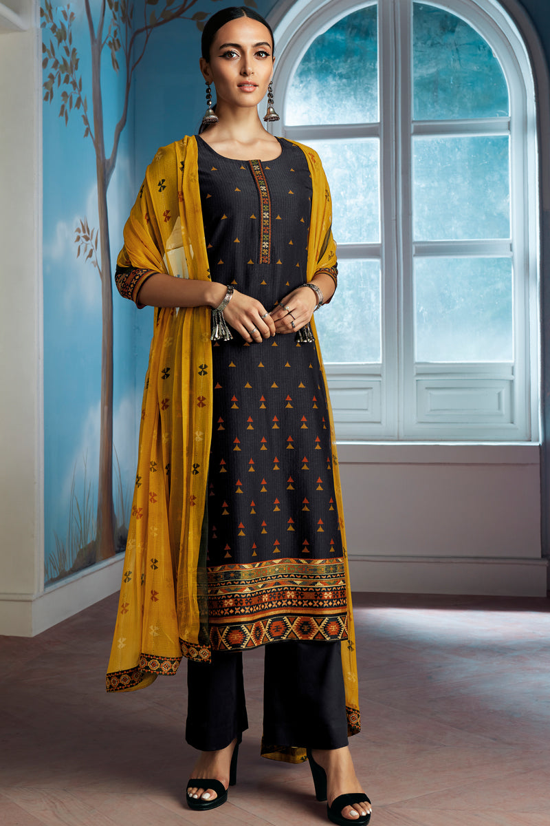 Black Bemberg Silk Kurta with Chiffon Dupatta
