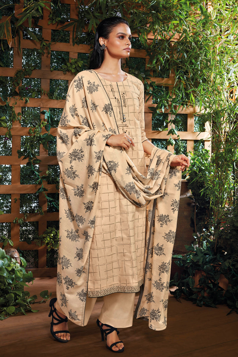 Beige Cotton Kurta with Jacquard Dupatta