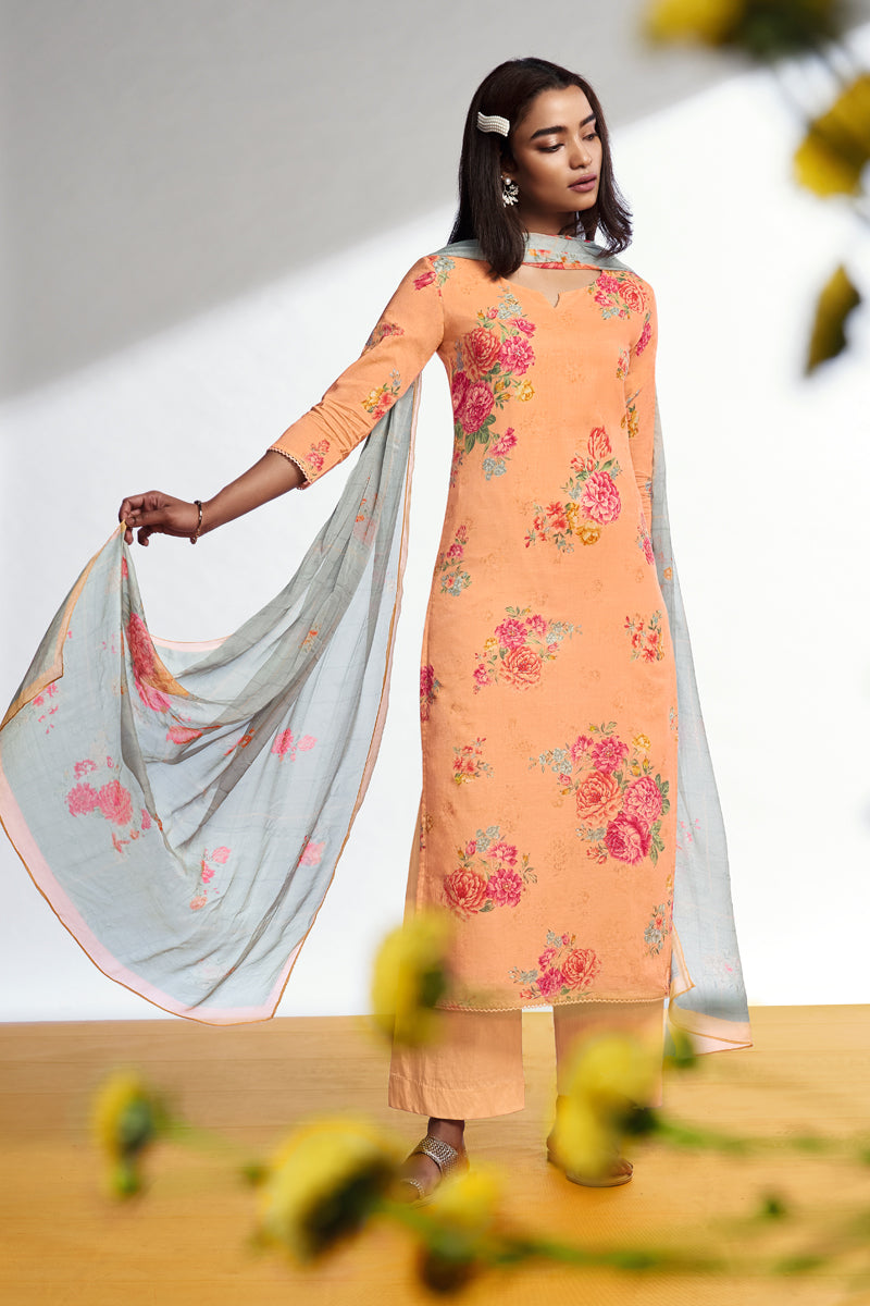 Peach Cotton Lawn Kurta with Chiffon Dupatta