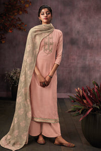 Peach Cotton Printed Kurta with Jacquard Dupatta