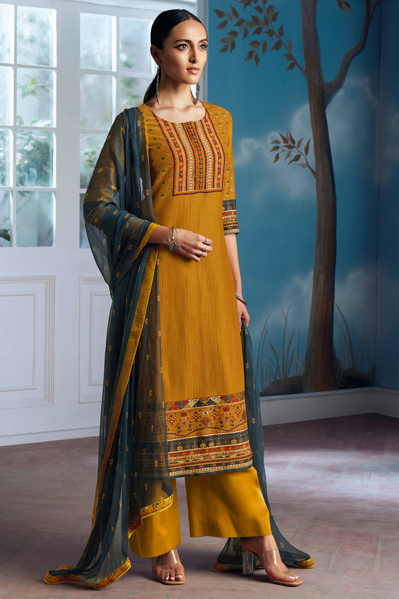 Yellow Bemberg Silk Kurta with Chiffon Dupatta