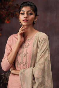 Peach Cotton Printed Kurta