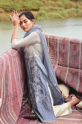 Grey Summer Silk Kurta with Chiffon Dupatta
