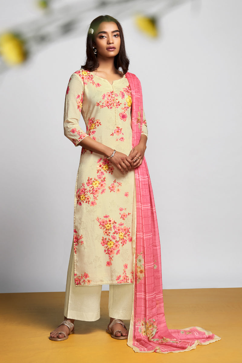 Yellow Cotton Lawn Kurta with Chiffon Dupatta