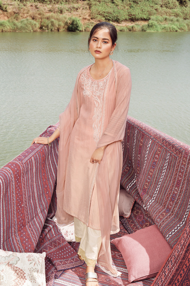 Peach Summer Silk Kurta with Chiffon Dupatta