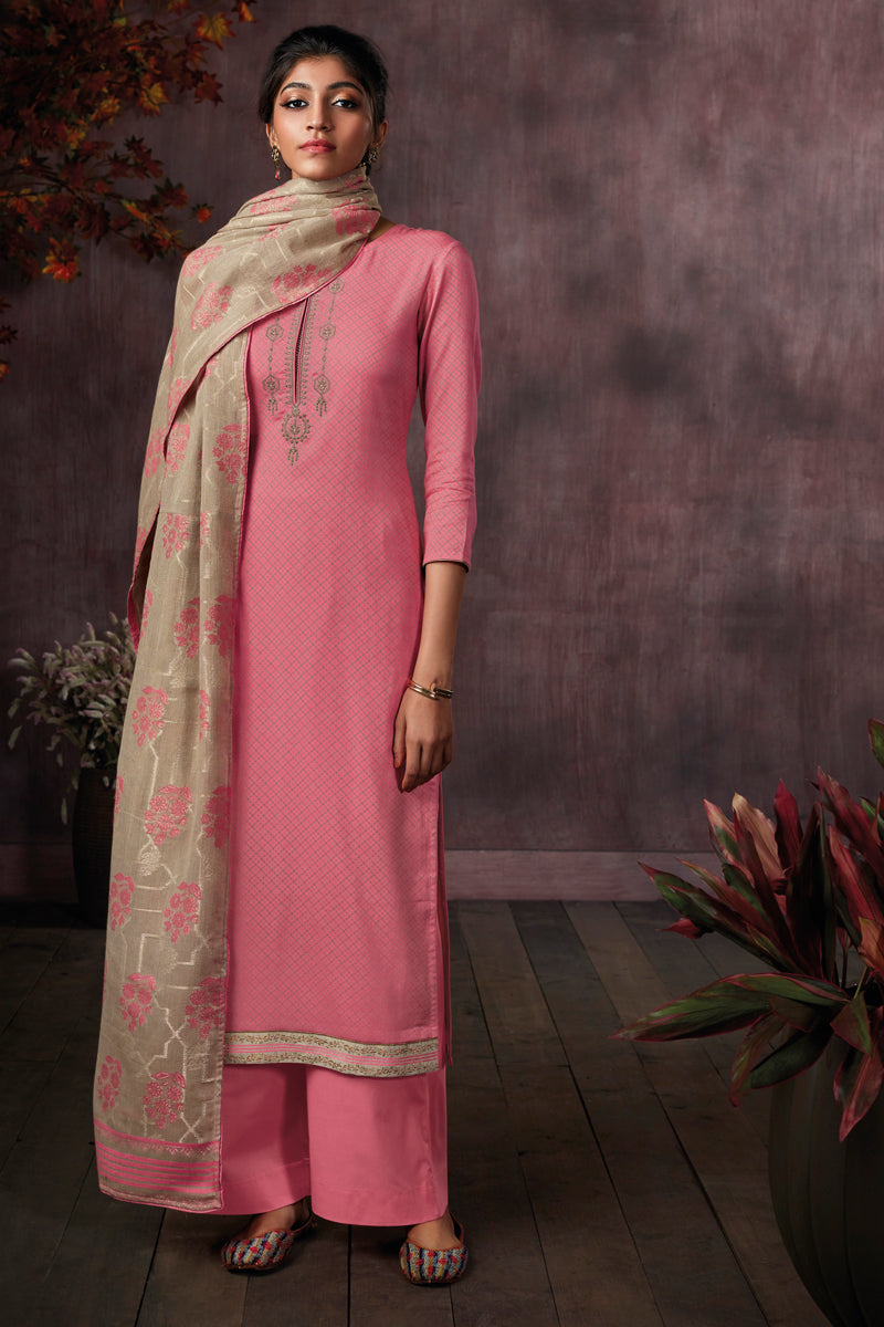 Pink Cotton Printed Kurta with Jacquard Dupatta