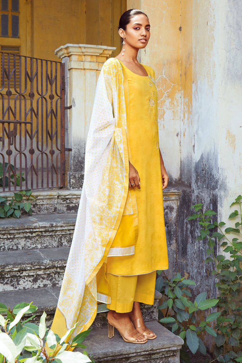 Yellow Cotton Kurta with Silk Jacquard Dupatta