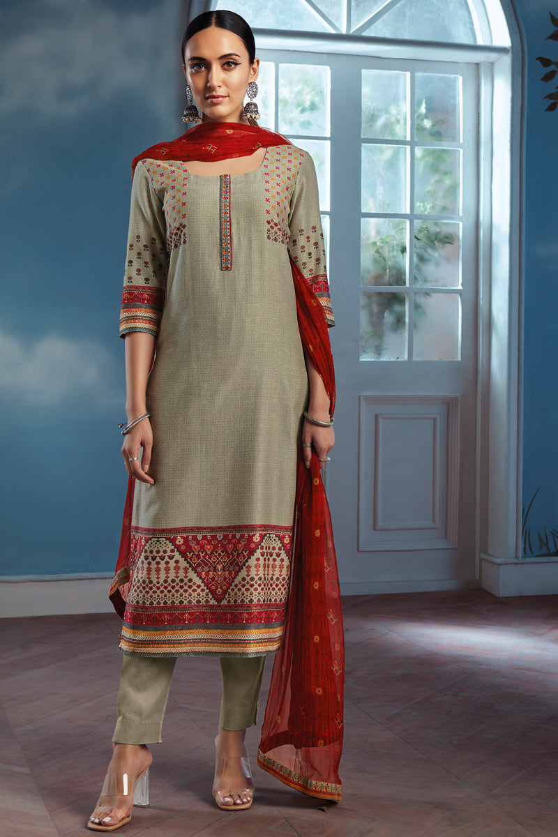 Green Bemberg Silk Kurta with Chiffon Dupatta