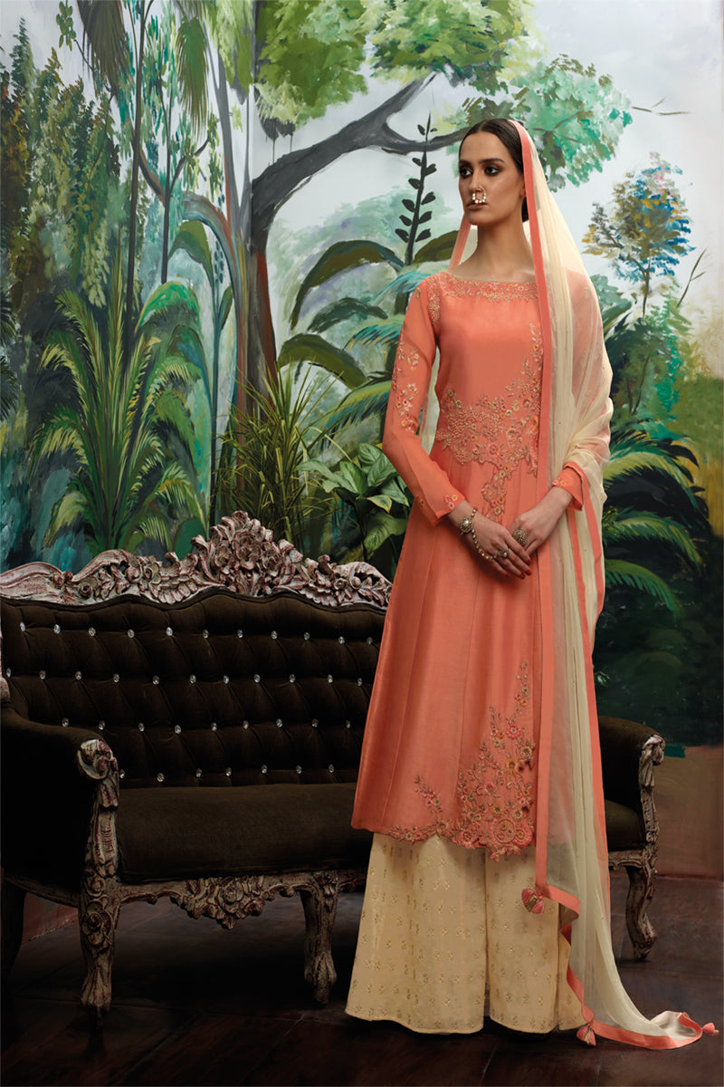 Chanderi Silk Kurta with Chiffon Dupatta (Unstitched)