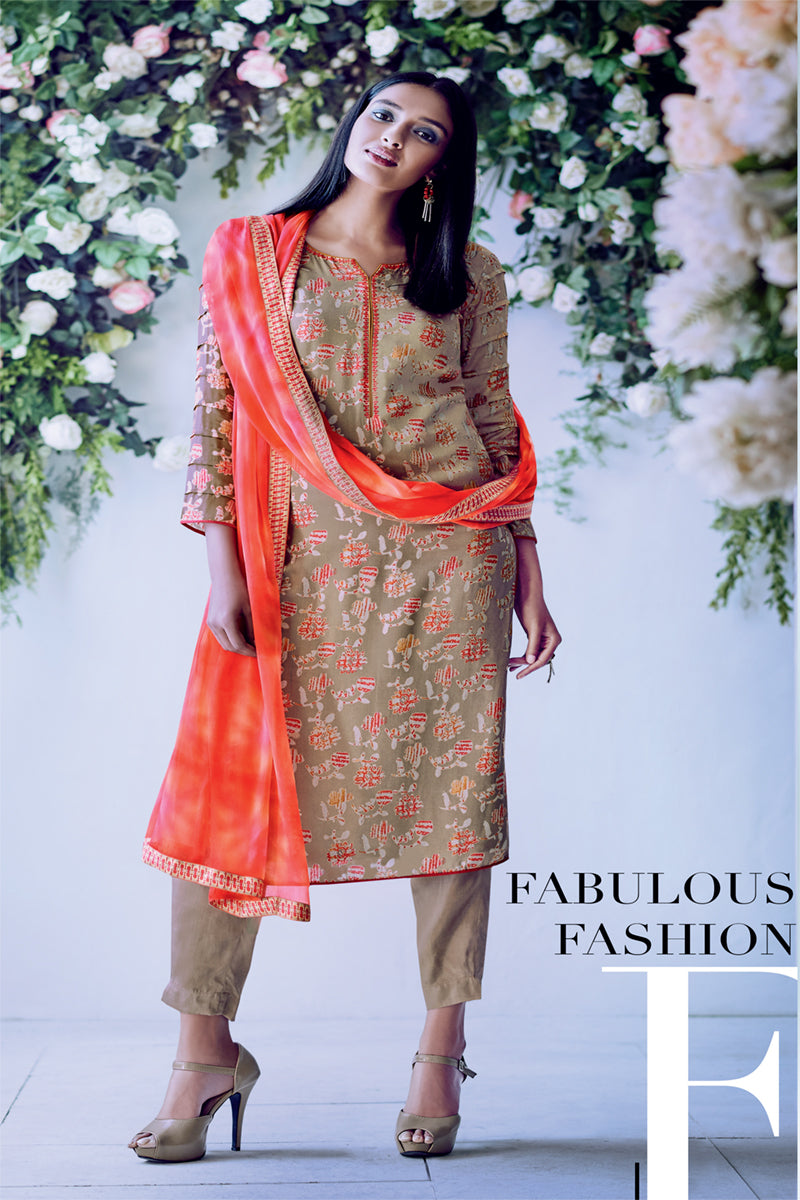 Silk Kurta with Chiffon Dupatta (Unstitched)