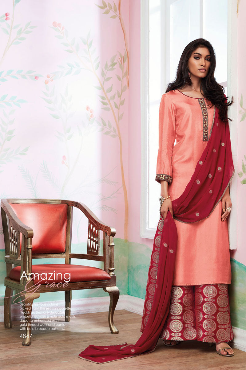 Habutai silk Kurta with Jacquard Dupatta (Unstitched)