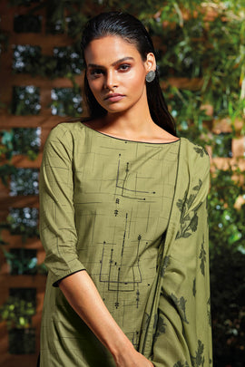 Green Cotton Kurta with Jacquard Dupatta
