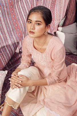 Peach Summer Silk Kurta