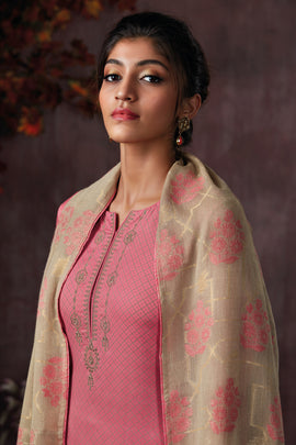 Pink Cotton Printed Kurta