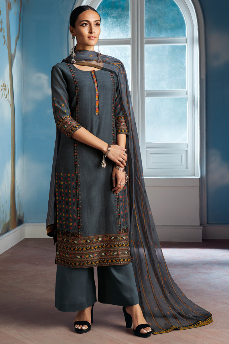 Grey Bemberg Silk Kurta with Chiffon Dupatta